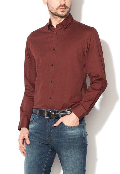 FashionDays.ro: Camasa maro castana slim fit Newton Selected Homme