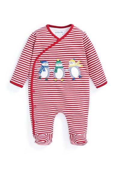 Pijama rosu cu alb cu botosei Penguin de la Jojo Maman Bebe