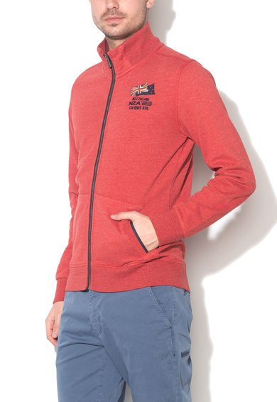 New Zealand Auckland Bluza sport rosu caramiziu cu fermoar si logo Hacket