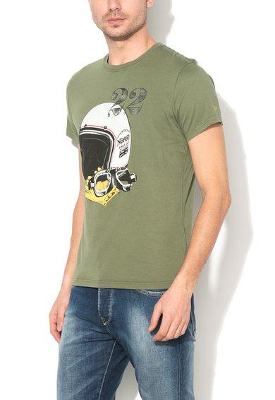 FashionDays.ro: Tricou verde oliv cu imprimeu cu casca Miles Norton