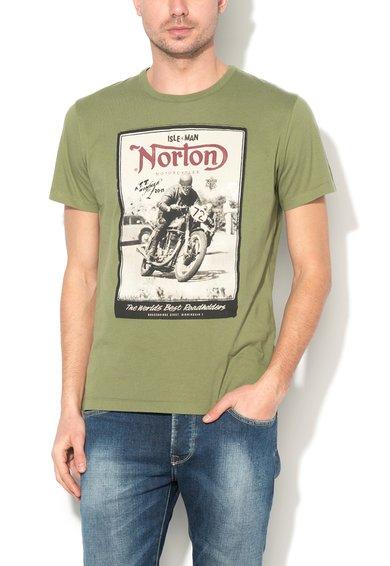 FashionDays.ro: Tricou verde militar cu imprimeu frontal Leon Norton