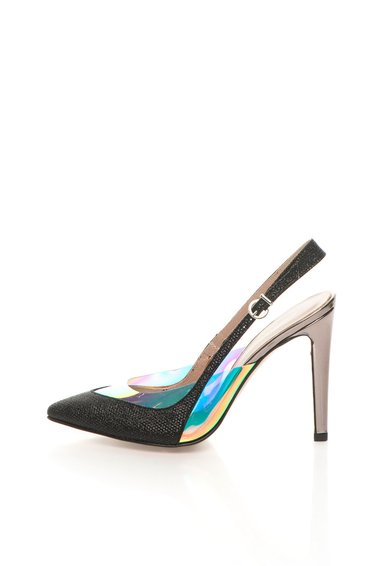 Pantofi slingback negri cu toc argintiu inchis de la Roberto Botella