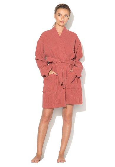 Sensei Halat de baie rosu terracotta cu textura tesuta