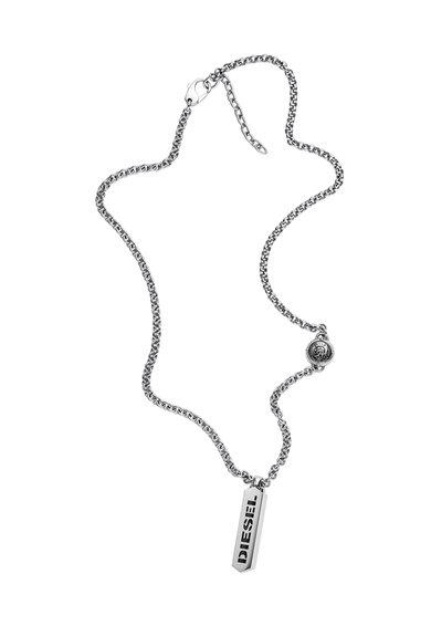 Colier argintiu cu pandantiv cu logo de la Diesel