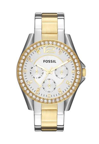 FashionDays.ro: Ceas argintiu si auriu cu functii multiple Riley Fossil