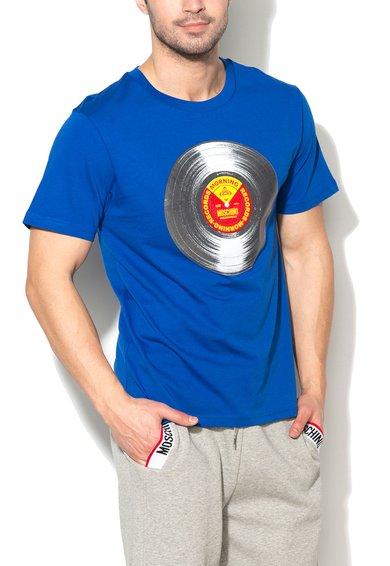 FashionDays.ro: Tricou de casa albastru royal cu imprimeu cauciucat Moschino