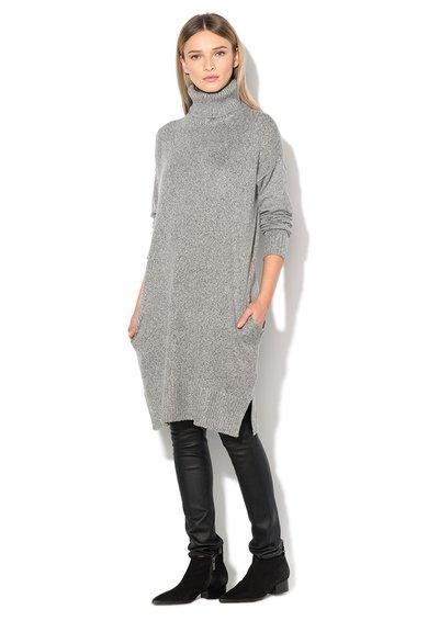 FashionDays.ro: Pulover lung gri melange cu guler inalt Lina Vero Moda