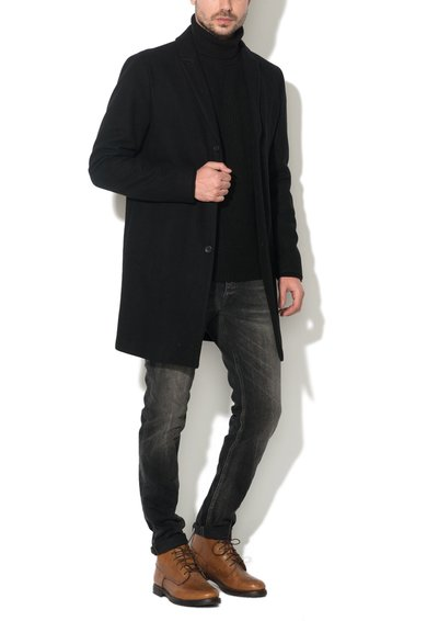 FashionDays.ro: Haina neagra din amestec cu lana Christian JackJones