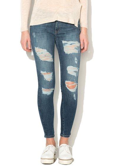 FashionDays.ro: Jeansi skinny crop albastri cu aspect deteriorat Carmen Only