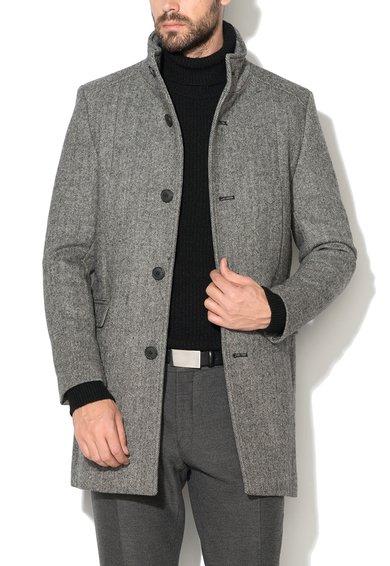 Selected Homme Haina gri din amestec de lana cu model herringbone Mosto