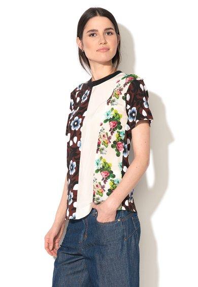 FashionDays.ro: Tricou multicolor cu segment de matase contrastant Holiday Sportmax Code