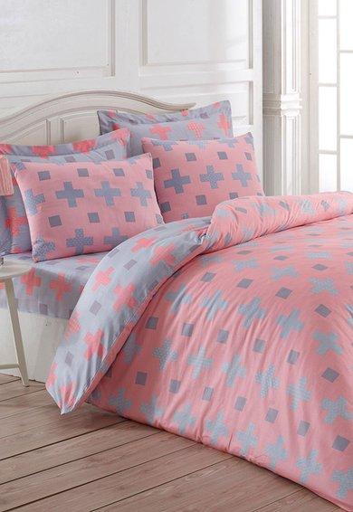 Leunelle Set de pat roz cu gri cu imprimeu geometric