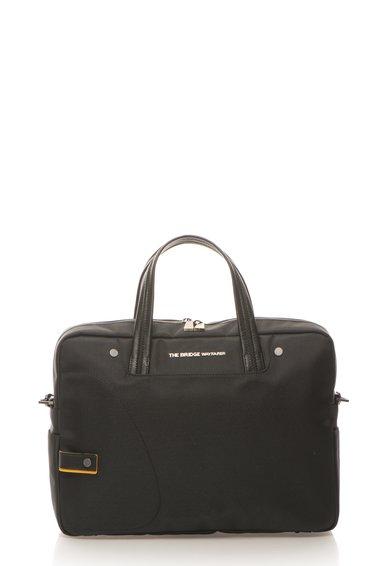 Geanta neagra pentru laptop cu garnituri de piele de la The Bridge Wayfarer