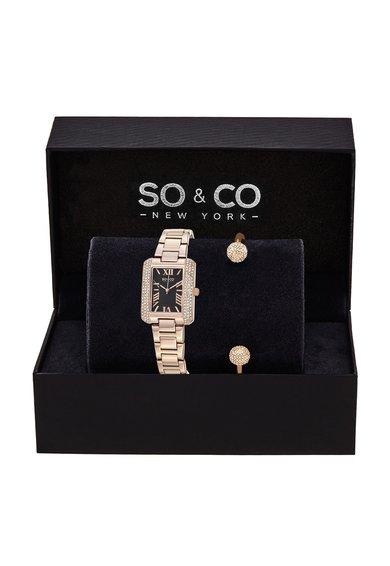 SOCO New York Set auriu rose de ceas si bratara rigida Madison