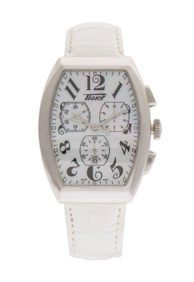 FashionDays.ro: Ceas cronograf alb si argintiu cu model crocodil Tissot