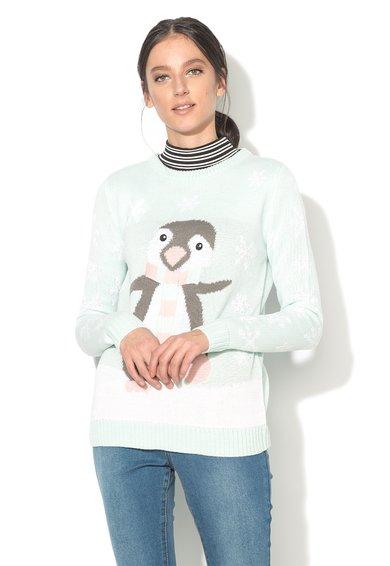 BRAVE SOUL Pulover verde menta cu design pinguin