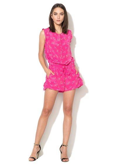 Juicy Couture Salopeta roz de matase cu palmieri