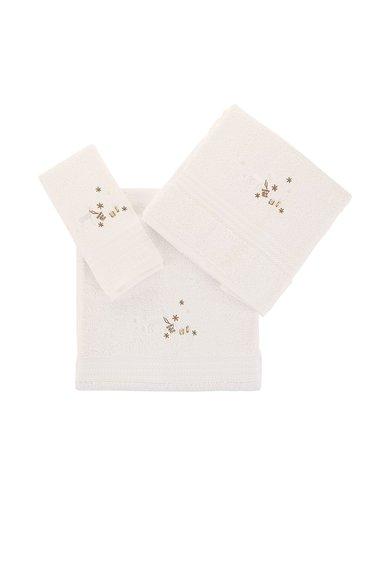 Set de prosoape albe cu broderie tematica – 3 piese de la Leunelle