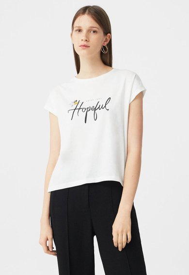 FashionDays.ro: Tricou alb cu imprimeu text si margele Stones MANGO