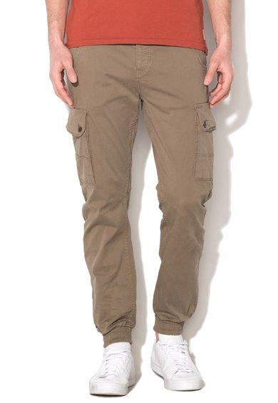 JackJones Pantaloni cargo kaki deschis cu mansete elastice Paul