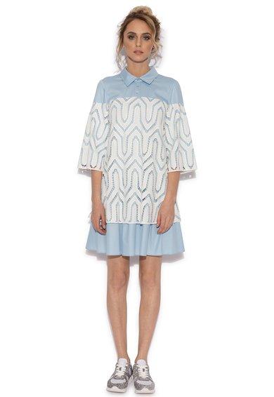 NISSA Rochie bleu cu alb si guler ascutit