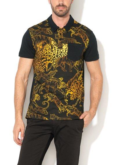 VERSACE JEANS Tricou negru regular fit si imprimeuri cu tigru