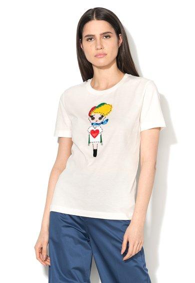 Tricou alb cu aplicatie multicolora de la Love Moschino