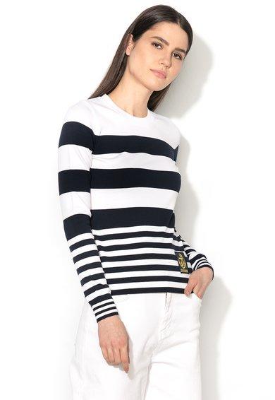 Pulover bleumarin inchis cu alb tricotat fin de la Love Moschino
