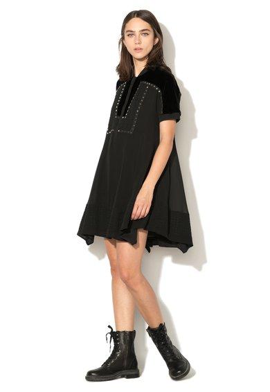 Rochie ampla neagra cu insertii catifelate debroderie