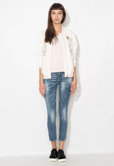 Zee Lane Denim Jeansi crop albastri cu pete decorative Femei image_7
