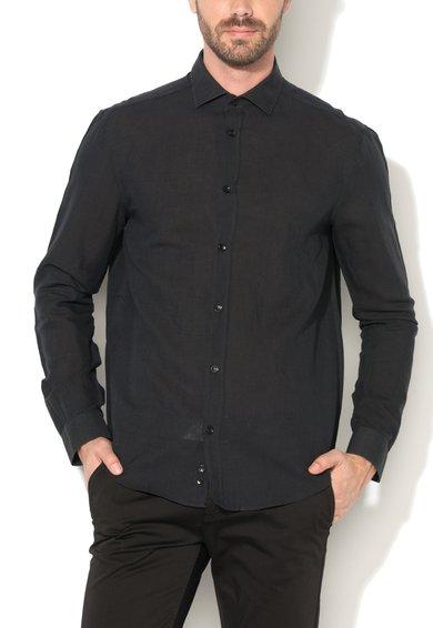 Versace Collection Camasa neagra cu guler cu deschidere ampla