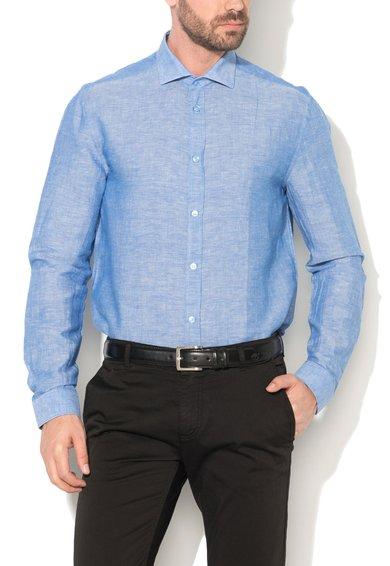 Versace Collection Camasa albastru melange cu guler cu deschidere ampla