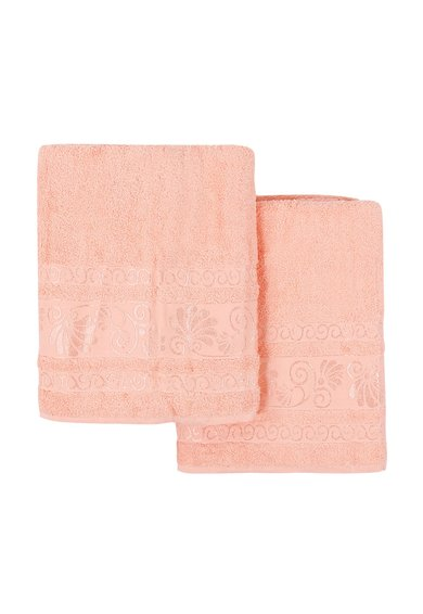 FashionDays.ro: Set de prosoape roz somon cu broderie Cicek – 2 piese Leunelle