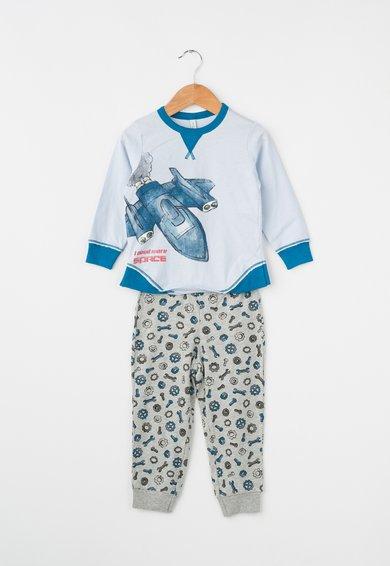 Pijama albastru azur si gri melange cu imprimeuri diverse de la Undercolors of Benetton