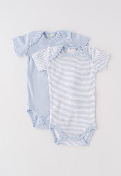 Set de body-uri bleu cu alb in dungi – 2 piese de la Undercolors of Benetton