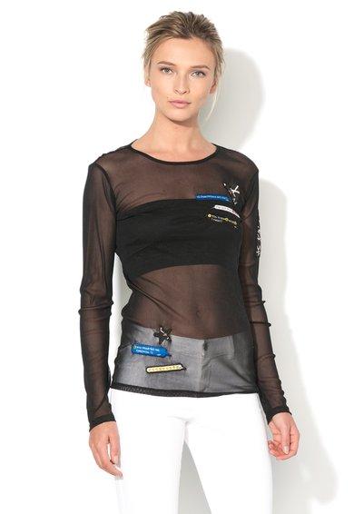Sisley Bluza neagra transparenta cu plasa