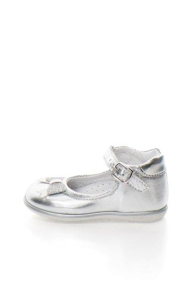 Pantofi Mary Jane argintii de piele cu funda de la Zee Lane Kids