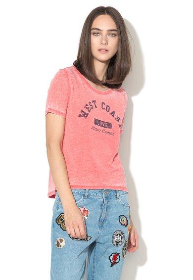 Only Tricou rosu cu imprimeu si aspect decolorat Bella