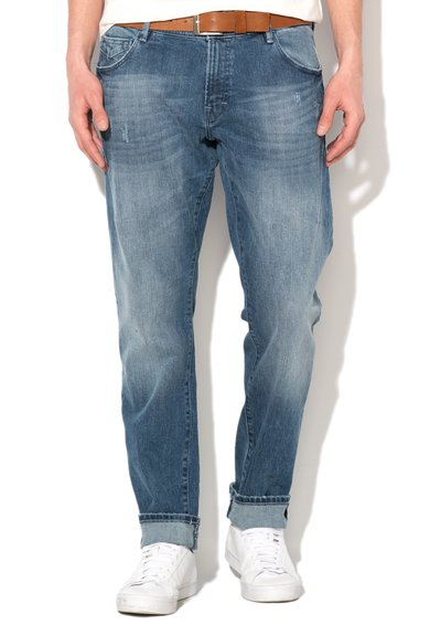 FashionDays.ro: Jeansi slim fit albastru stins cu aspect usor uzat EDC by ESPRIT