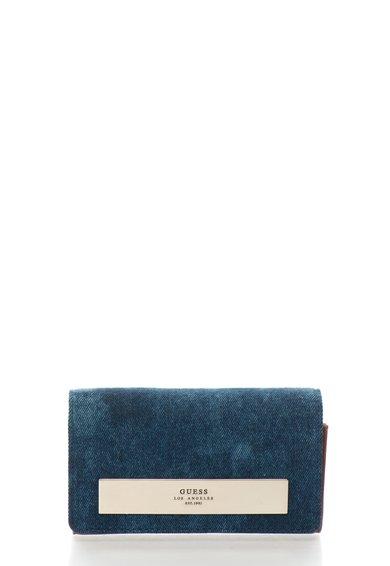 FashionDays.ro: Portofel acordeon cu clapa din denim albastru cu maro caramel GUESS