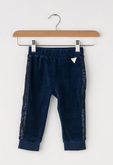 Pantaloni catifelati bleumarin cu paiete