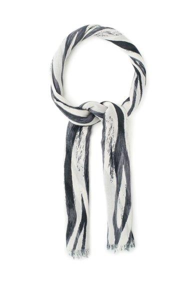 ESPRIT Esarfa negru si alb prafuit cu imprimeu zebra