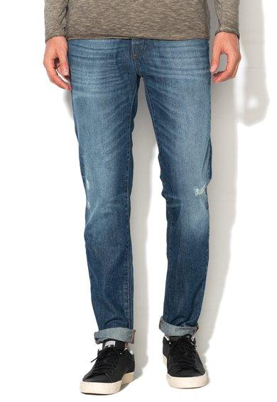 FashionDays.ro: Jeansi regular fit albastri cu aspect uzat United Colors Of Benetton