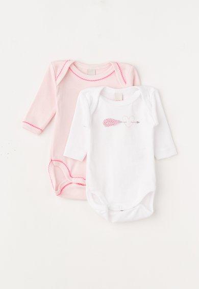 FashionDays.ro: Set de body-uri alb cu roz – 2 piese ESPRIT