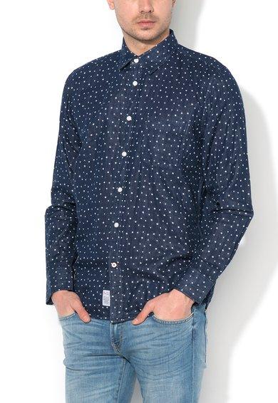 Camasa regular fit bleumarin inchis cu model discret Bjorn de la Big Star