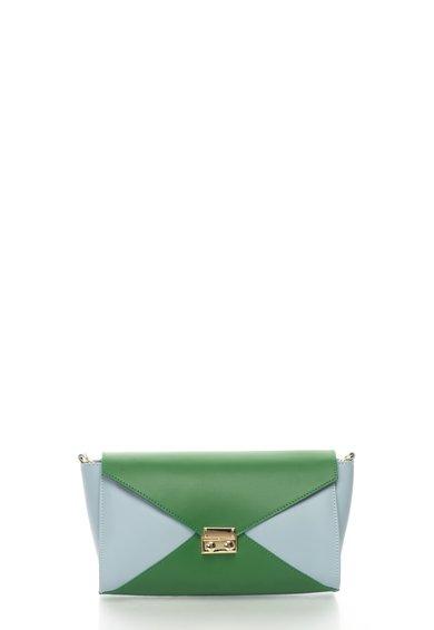 Zee Lane Collection Geanta plic albastru azur cu verde de piele cu bareta lant