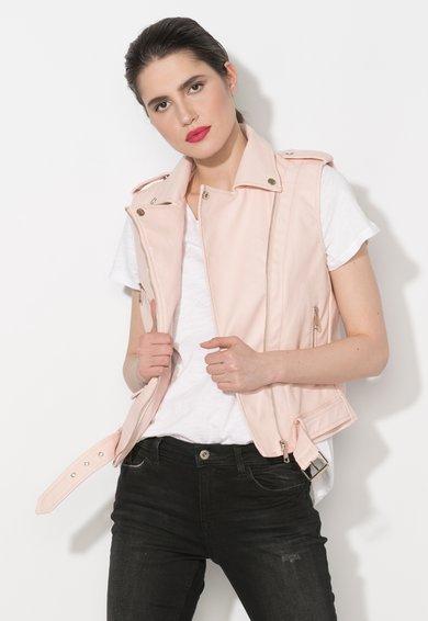Zee Lane Denim Vesta biker roz pal de piele sintetica