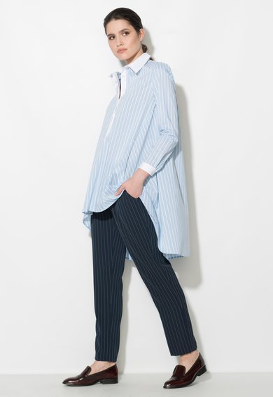 Zee Lane Denim Rochie tip camasa asimetrica bleu cu alb in dungi
