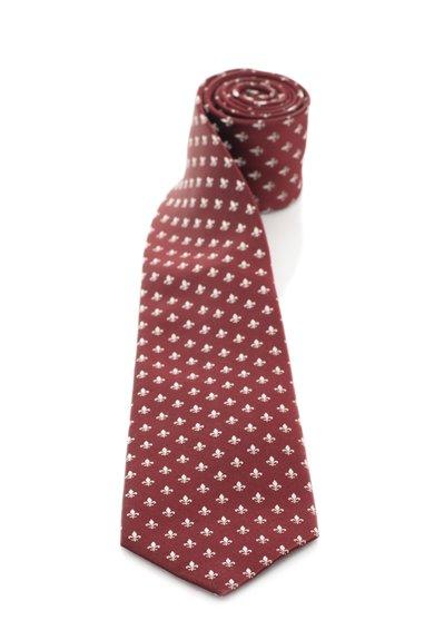 Cravata Bordeaux cu alb de matase cu model fleur de lis Vincenzo Boretti