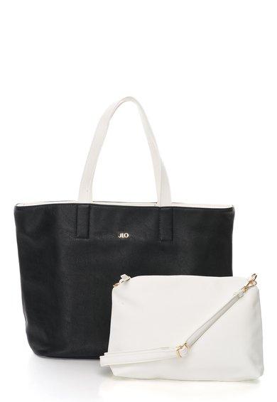 FashionDays.ro: Geanta shopper reversibila negru si alb cu portofel JLo by Jennifer Lopez